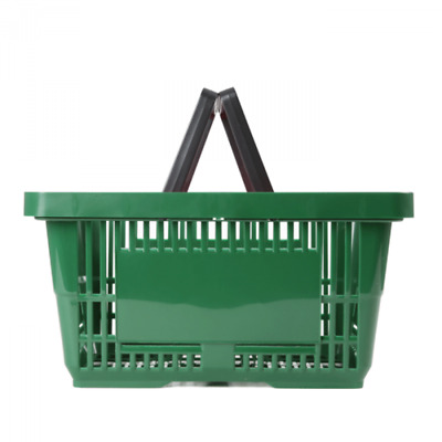 Shopping Basket 22Ltr - Plastic - Green - Double Handle
