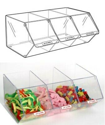 PM9712 - Pick & Mix Dispenser for Unwrapped Sweets: 3 Section - 495mm (W) x 200m