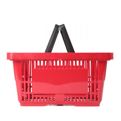Shopping Basket 22Ltr - Plastic - Red - Double Handle