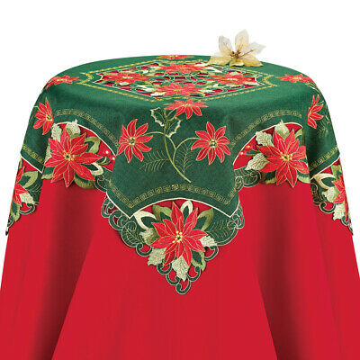 Beautiful Poinsettia Christmas Table Linens, Exquisite Embroidery with Cutwork