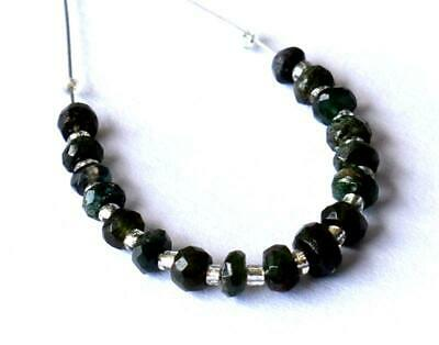 Natural Dark Emerald Beads Faceted Rondelle 3 - 4 Mm 17 Pcs #d18437