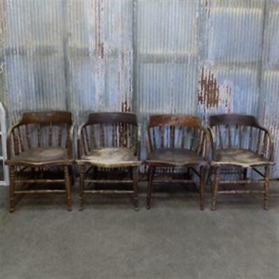 Set of 4 Victorian Wooden Captains Chairs, Spindle Stick Barrel Dining Chairs