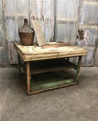 Vintage Wooden Workbench, Rustic Industrial Table, Coffee Table, Kitchen Island