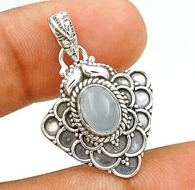 Charming Design Aqua Chalcedony 925 Solid Sterling Silver Pendant Jewelry C31-5