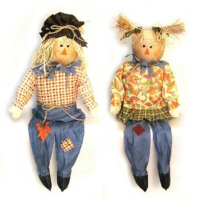 """2 Sitting Scarecrow Cute Couple Country Halloween Fall Decoration Prop 36"""""""