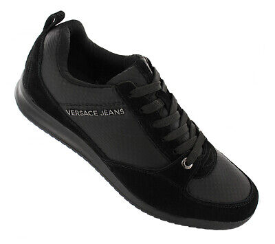 BRAND NEW VERSACE JEANS MEN/'S COATED//SUEDE SNEAKER TRAINERS E0YOBSA2 BLACK