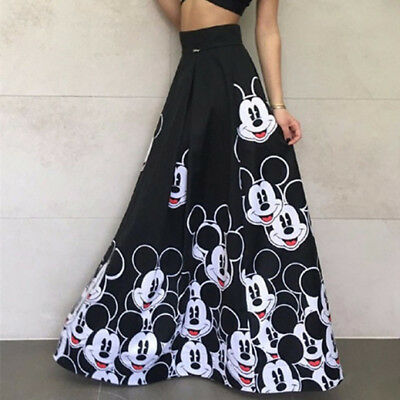 Fashion Long Skirt Floor Length Ladies Elastic High Waist Women Mickey Mouse