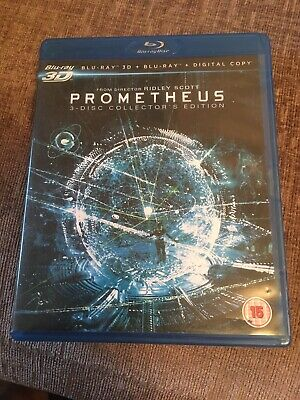 Prometheus - Blu Ray & 3D  Dvd - 3 Disc Set & Digi Code - Mint Discs