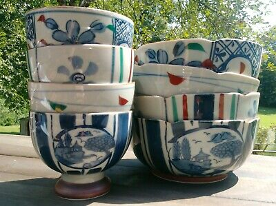 Japanese Bowls ~ Set of 8 ~ Floral & Nature Scene Handpainted Blue Red Green