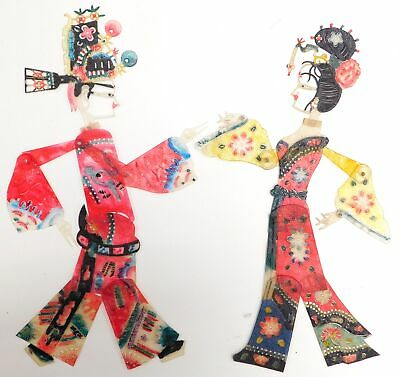 2x CHINESE Plastic Jointed Colourful Character SHADOW PUPPETS - Y99