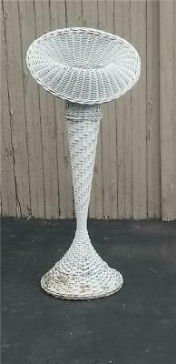 "Vintage Antique Wedding and / or Funeral 37"" Tin Lined Wicker Flower Floor Vase"