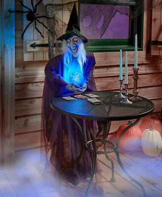 Life-Size Psychic Witch Creature w/ Lighted Crystal Ball Halloween Prop
