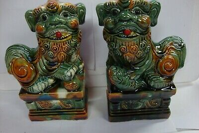 Chinese Green Figure Glazed Pair Porcelain Foo Dogs-RARE