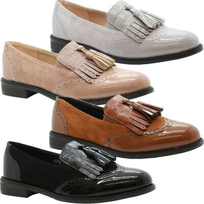 Womens Flats Brogue Loafers Patent Tassels Office Pumps Ladies School Shoes Size
