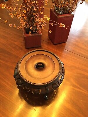 VINTAGE ASIAN CARVED ROSEWOOD BASE STAND for POTTERY TEAPOT ETC. LOVELY