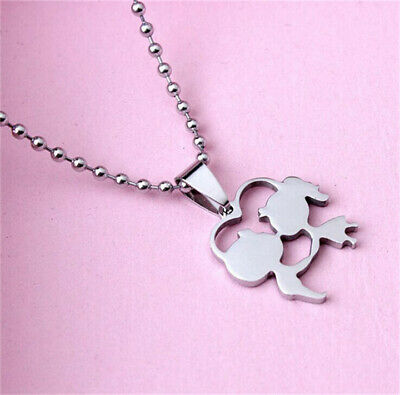 Women's Girl Fashion Stainless Steel Silver Boy and girl Pendant w/ Necklace