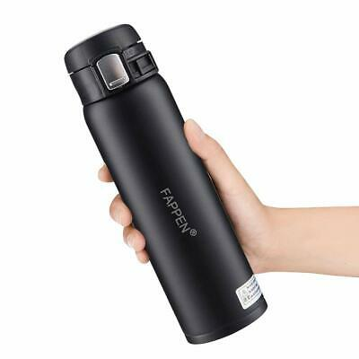 450ml Black Stainless Steel Insulated Water Bottle Double Walled Vacuum Flask
