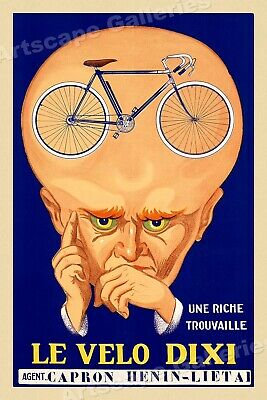 "1920s Classic Cycling Poster - Thinking ""Le Velo Dixi Bicycles"" - 20x30"