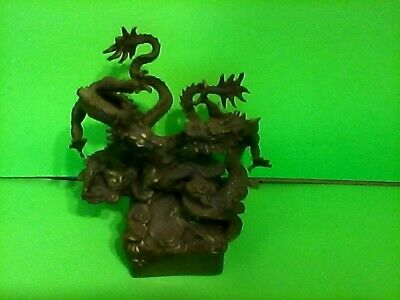 vintage brass asian chinese double dragon sculpture statue