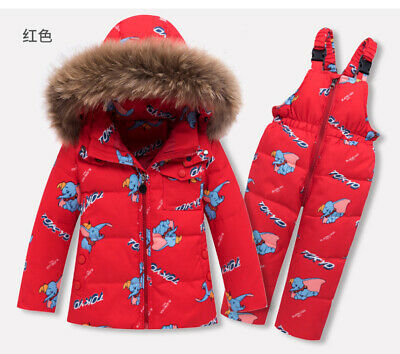 Baby Boys Girls Kids Toddler Snowsuit Snow Ski Duck Down Coat Jacket + Trousers