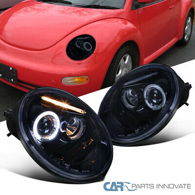 Glossy Piano Black For VW 98-05 Beetle Tinted LED Halo Projector Headlights Lamp