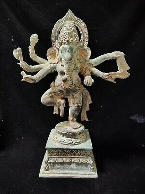 Dancing Ganesh Multi Hand God Face Spiritual Bronze Brass Art Statue