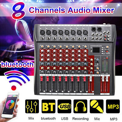 8 Channel Pro bluetooth Live Studio Audio Mixer Mixing Console USB 48V Phantom