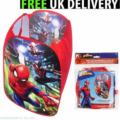 Boys Childrens Spiderman Bedroom Laundry Pop Up Baskets Bin Toy Box Red Mesh