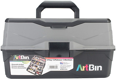 Art Bin Lift Box with 3 Trays and Quick Access Lid Storage, Multicoloured, 22.86