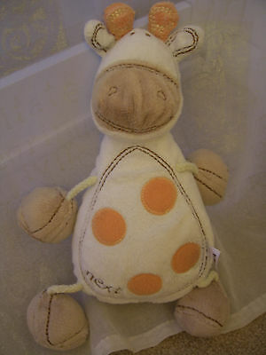 Next Soft Cuddly Toy White Orange Spot Giraffe Comforter Teddy Bear Next Easter