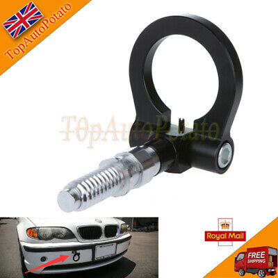 1x Black Racing Tow Towing Hook Car Auto Trailer Ring For Universal BMW European