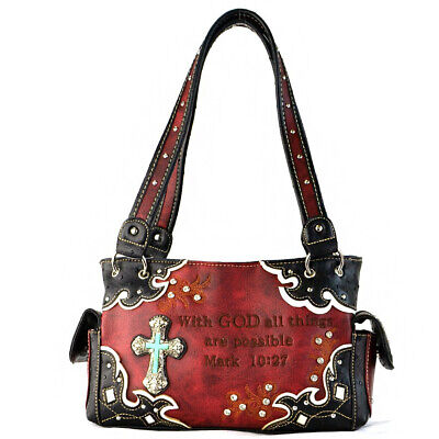 87c22e33c730 BIBLE VERSE WESTERN Style Purses Country Handbags Women Shoulder Bag ...