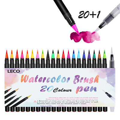 New 21 Colour Drawing Calligraphy Artist Brush Pens Watercolour Painting Pen Set