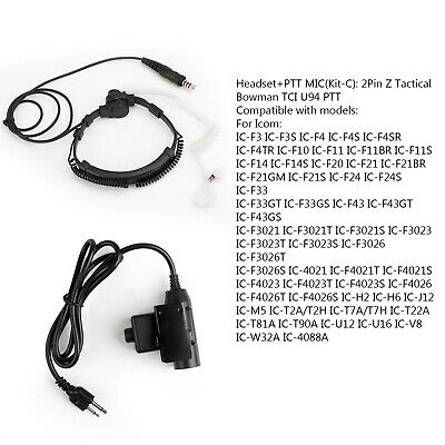 Flexible Throat Mic 7.1mm Plug Headset + 2Pin Z Tactical Bowman TCI U94 PTT AT2