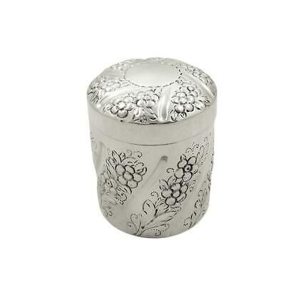 ANTIQUE EDWARDIAN STERLING SILVER VANITY POT / BOX with BIRDS - 1902