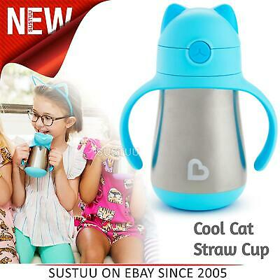 Munchkin Kid's Cool Cat Ear Stainless Steel Straw Drink Cool/Hot Cup¦Sky¦240ml