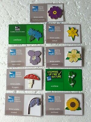 RSPB JOB LOT of 9 FLOWERS charity pin badge GNAH fly agaric PRIMROSE daffodil