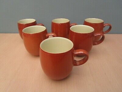 6 Denby Fire Large Curve Mugs