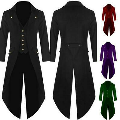 men Tailcoat Victorian Jacket Steampunk Gothic Vampire Frock Coat Black