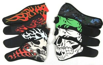 Adults Mens Face Mask Motorbike Wind Protector Black Flames Skulls Mouth Cover