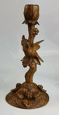 Antique Black Forest Fine Carved Bird Candlestick c19th - German Swiss