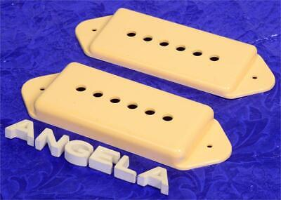 Set Of Two Cream Lindy Fralin P90 Dogear Pickup Covers for Hollow Body Guitars