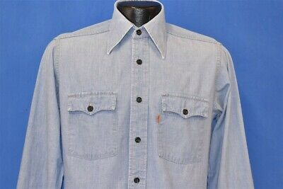 vintage 80s LEVIS ORANGE TAB CHAMBRAY BUTTON FRONT MEN'S WORKWEAR SHIRT SMALL S