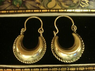 Beautiful,Finely Crafted Ethnic Design;Solid Silver Filled Hoop Design Earrings