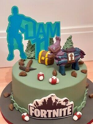 Mirror Fortnite Theme Name /& Age Personalised Birthday Customised Cake Topper