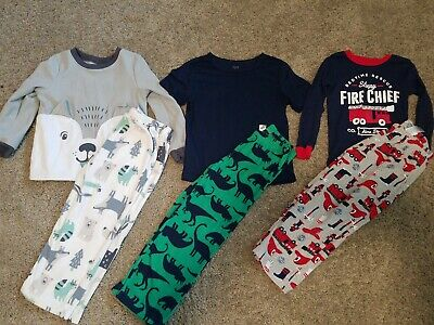 Toddler Boys Size 5t Carter's Gap Fleece Two Piece Pajama Lot Euc