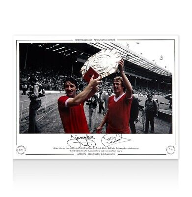 Jimmy Case & Phil Neal Signed Liverpool Photo - 1980 Charity Shield Winners