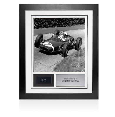 Framed Sir Stirling Moss Signed Autograph Card Autograph