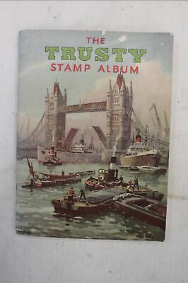 Vintage The TRUSTY STAMP ALBUM  w/ Approx 100 Mixed WORLDWIDE STAMPS  - G25