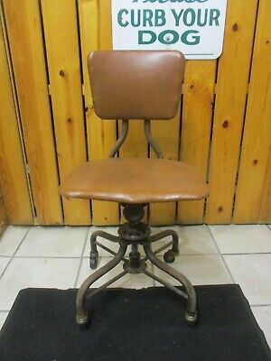 Vtg Sturgis Posture Chair Adjustable Industrial Machine Age Rolling Chair Seat
